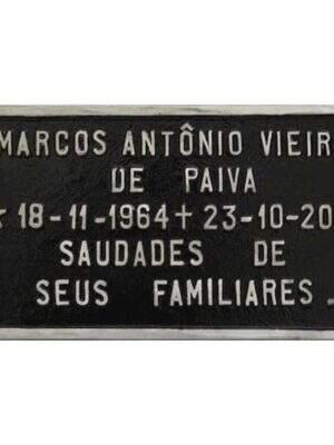Placa para tumulo de alumínio com nome e data