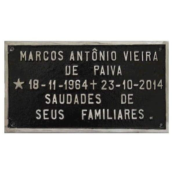 Placa para tumulo de alumínio com nome e data - Fundição Campo Belo - Placas para Túmulos