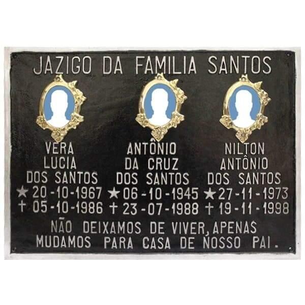 Placa para Tumulo com 3 fotos 3 nomes e mensagem - Fundição Campo Belo - Placas de Metal